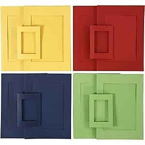 Cartes passe-partout, dim. A4+A6 , la taille du trou 6,5x12,5+16x21 cm, bleu, vert, jaune, rouge, 120assortis
