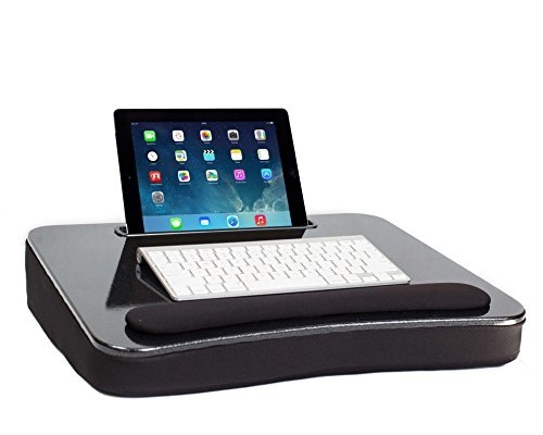 Sofia and Sam All Purpose Lap Desk with Tablet Slot | Memory Foam Cushion | Laptop Desk | Travel Desk | Lapdesk (Black)