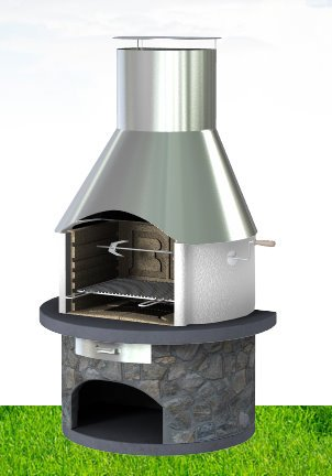 Rondo Masonry BBQ Grill - Stainless Steel Chimney and Real Dark Slate body