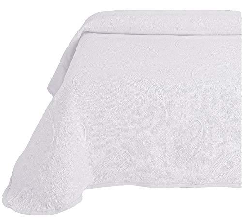 Couvre-lit boutis Sabri de Jacquard Cashmere en blanc, gris ou beige (toutes les tailles). 180x260 (cama 90) blanc