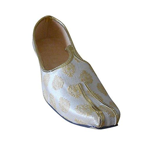 KALRA Creations Herren Schuhe Traditionelle Seide indischen Hochzeit Cremefarben