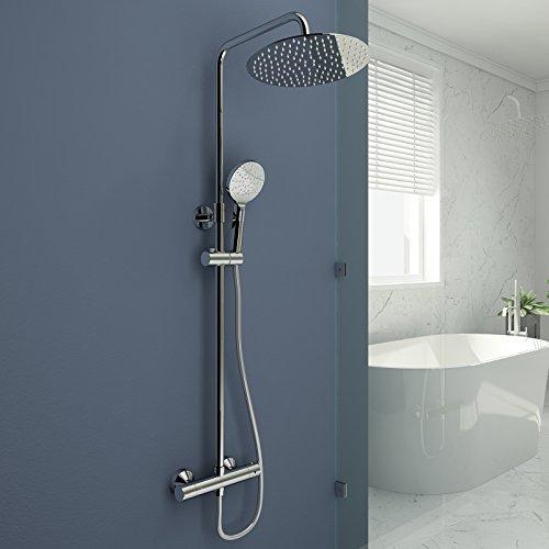 Duschsystem mit Thermostat Duscharmatur verstellbare Duschstange Duschset mit Rainshower Handbrause mit 3-Funktion Duschkopf Regendusche Dusche Armatur und Duschablage Brausethermostat
