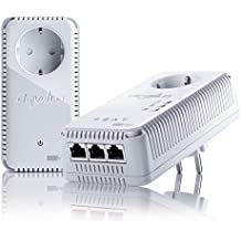 Devolo dLAN 500 AV Wireless+ - Kit de inicio de adaptador de comunicación por línea eléctrica PLC (500 Mbps, 2 adaptadores, 3 puertos LAN, amplificador de señal WiFi, WiFi Move), blanco