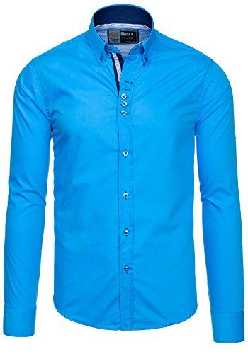 BOLF Herren Langarm Herrenhemd Figurbetont Freizeit Slim 5787 Azurblau