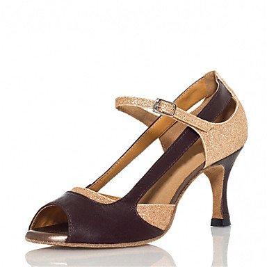 Chaussures De Danse - Personnalisable - Pour Femme - Danse Latino-américaine / Salsa / Samba - Talon Sur Mesure - Similicuir - Or Doré
