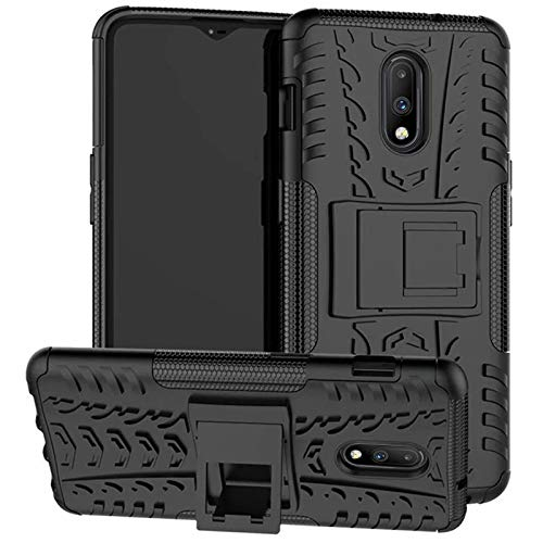 DMG Back Cover for One Plus 7, Shockproof Rugged Hybrid Armor Kickstand Case for OnePlus 7 (Mesh Black)