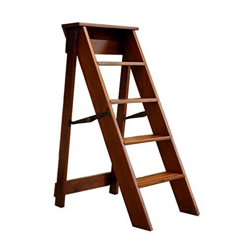 DXZ-Leitern Holzleiter Tragbarer Tritthocker Stuhl Faltbares Massivholz 5 Trittleiter Multifunktionales Praktisches Haushalt Küche Bad Büro Gartenmöbel Max Last 150 kg Walnuss -