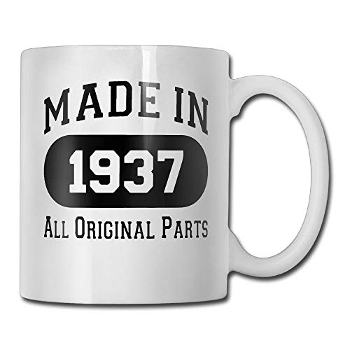 (80th Birthday Gifts For Men Made 1937 All Original Parts Funny 80th Birthday Party Supplies - Coffee Mug Tea Cup Ceramic White 11 OZ)
