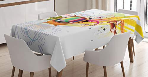 ABAKUHAUS Modern Tischdecke, Digitale Medien TV Art, Für den Inn und Outdoor Bereich geeignet Waschbar Druck Klar Kein Verblassen, 140 x 170 cm, Mehrfarbig Digital Outdoor Tv