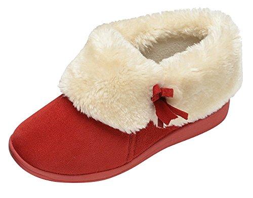 Womens Dunlop Bessie Kunstpelz Kragen Ankle Hausschuhe Stiefel - Winter Rot, 41 (Kragen Knöchel Stiefel)