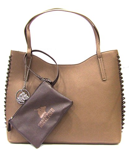 GREENWICH ROYAL POLO - BORSA DONNA IN SAFFIANO COL.BEIGE/MARRONE - art.PG16W-135-03 C