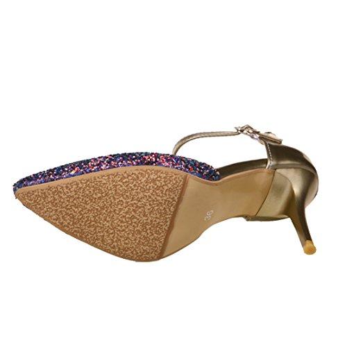 AIYOUMEI Damen Spitz Glitzer Knöchelriemchen Pumps mit 9cm Absatz Stiletto High Heels Modern Pailletten Pumps Schuhe Gold