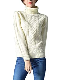 VOBAGA Women's Slim Turtleneck Long Sleeve Casual Blouse Pullover Tops Sweater Knit Pure Color