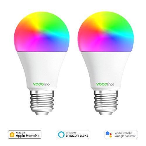 Mehrfarbig 2 Packungen VOCOlinc L1 Intelligente LED Gl/ühbirne A60 E27 Kein Hub Erforderlich Arbeitet mit Apple HomeKit Wi-Fi 2,4 GHz Dimmbar Alexa und Google Assistant Lichteffekte