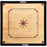 GSI Superior Matte Finish Full Size Carrom Board with Coins Striker and Boric Powder, Beige (Large 32 inch)