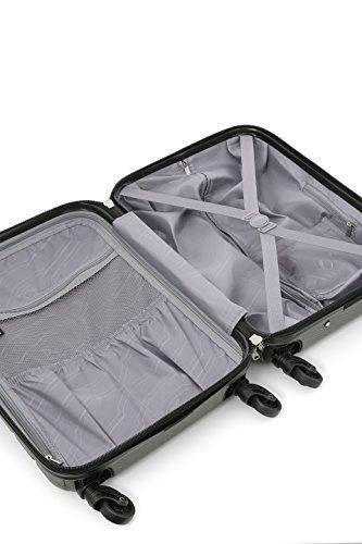 Aerolite SMART Koffer mit USB Port zum Laden, ABS Hartschale 4 Rollen Bordgepäck Handgepäck Trolley Koffer Gepäck , Genehmigt für Lufthansa, Easyjet, Ryanair und Viele Andere (Kohlegrau) - 5