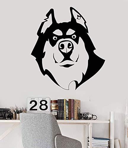 Vinyl Wandtattoo Hund Husky Freund Pet Shop Tierkopf Aufkleber 42 * 47 cm Husky Olive