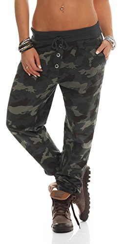 121 Shirtella Damen Camouflage Militär Hose Sweatpants Jogginghose Baumwolle Freizeithose Sweathose mit Gummibund Dunkelgrau