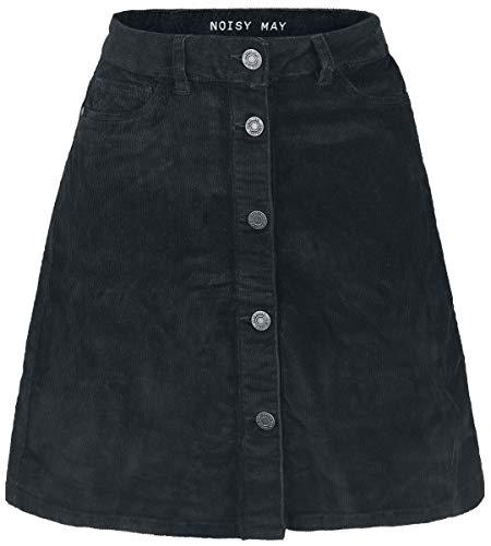 NOISY MAY Damen Rock NMSUNNY Short Corduroy Skater Skirt NOOS, Schwarz (Black), 36 (Herstellergröße: S)