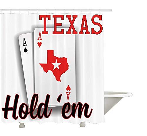 Yeuss Poker Tournament Dekorationen Duschvorhang, Texas Hold'em Thema Paar ACES mit Map Winning Hand, Stoff Badezimmer Dekor Set mit Haken, Rot, Schwarz, Weiß