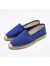 YOPAIYA Alpargatas Zapatos Planos Casuales Azules para Mujer Lona De Cáñamo Transpirable Slip-On Zapatillas