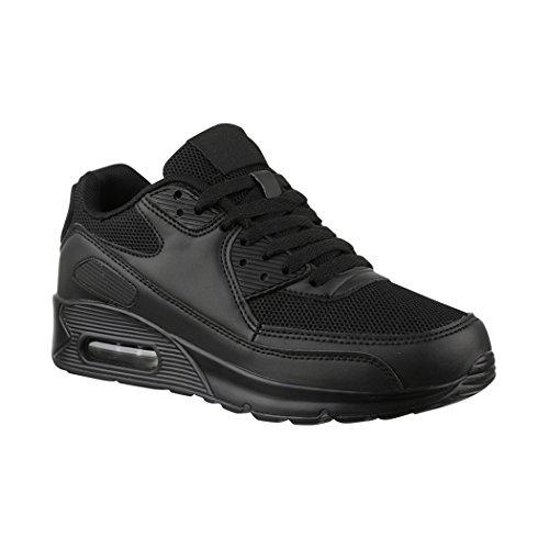 Elara Damen Herren Sneaker | Unisex Sport Laufschuhe | Turnschuhe | Chunkyrayan H001-Z001 Black-43P
