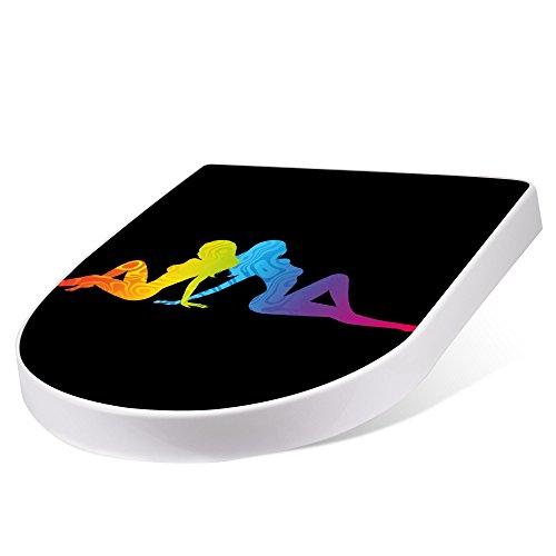BANJADO Design Toilettensitz mit Absenkautomatik, WC-Sitz weiß, Klodeckel mit Edelstahl Scharnieren, Toilettendeckel mit Motiv Pin Up Regenbogen