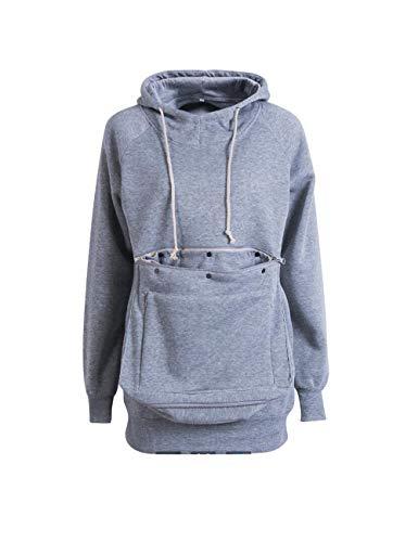 Besbomig felpa da donna con cappuccio manica lunga - pullover maglione grande tasca porta animali domestici cani gatti sweatshirt con cerniera