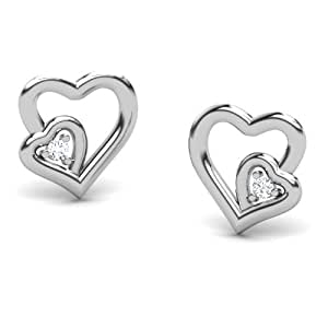 CaratLane 14k White Gold and Diamond Stud Earrings