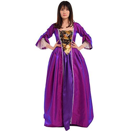BLESSUME Vintage viktorianischen Barock Kleid vermisst kolonialen Rokoko Jahrhundert Mittelalterliche Frauen Kostüm Kleid (XL, Lila)