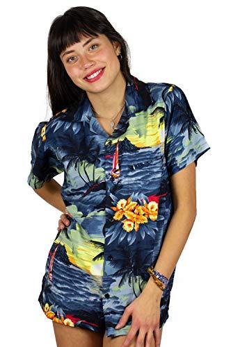 Funky Camisa Blusa Hawaiana, Manga Corta, Surf, Gris, S
