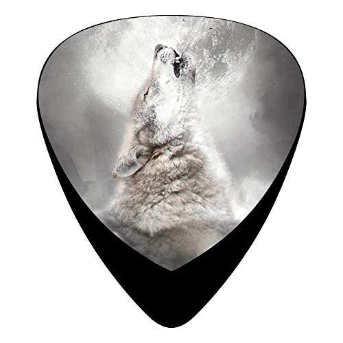Wolf Howl Fender Celluloid Guitar Picks 3D Printed 12 Pack Thin, Medium, Heavy Gauges For Musician