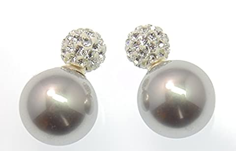 Original LaFemme Tribal Ohrringe, faccetierte TruColor Kristalle, große Perle Silbergrau
