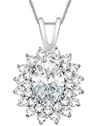 Silvernshine 14k White Gold Fn Sterling Pretty Oval-Cut 2.75 Ct D/VVS1 Diamond Double Halo Pendant