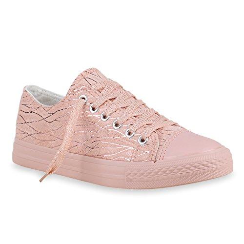Damen Sneakers Glitzer Freizeit Schuhe Schnürer Casual Look Rosa