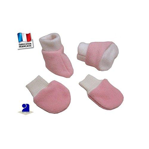 Poussin Bleu - Chaussons et moufles polaire 0-12 mois Made In France Couleur - Rose, Taille - 0 à 3 mois