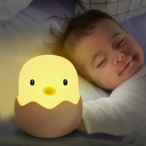 Veilleuse de Bébé, Solawill LED Veilleuse Coquille d'oeuf Poulet Emotion Lumière de Nuit USB Rechargeable Veilleuse Lampe de Silicone Bébé Lampe Pour Chambre d'Enfant - Blanc chaud