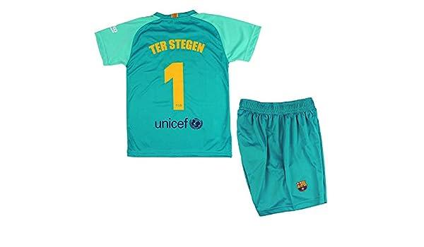 FCB Set T-Shirt et Pantalon Primera Away Enfant ter Stegen du FC Barcelone Produit Officiel Saison 2019-2020 Couleur Vert Vert, Taille 8