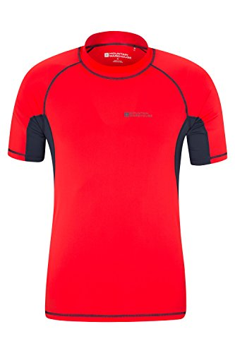 Mountain Warehouse Mens UV Rash Vest - UPF50+ UV Protection, Lightweight, Quick Drying, Stretch Fabric & Flat Seams - Ideal for Swimming Or Under A Wetsuit Red X-Large