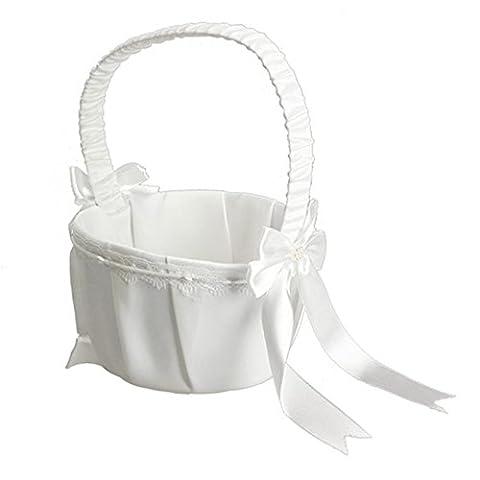 Ivory Bow Wedding Basket Ceremony Party Love Case Satin Flower Girl Basket DIY Home Decoration Storage Bag