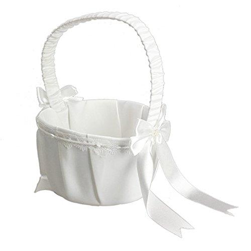 Elfenbein Schleife Hochzeit Korb Party Love Fall Satin-Blume Mädchen Korb DIY Home Dekoration Aufbewahrungstasche Container
