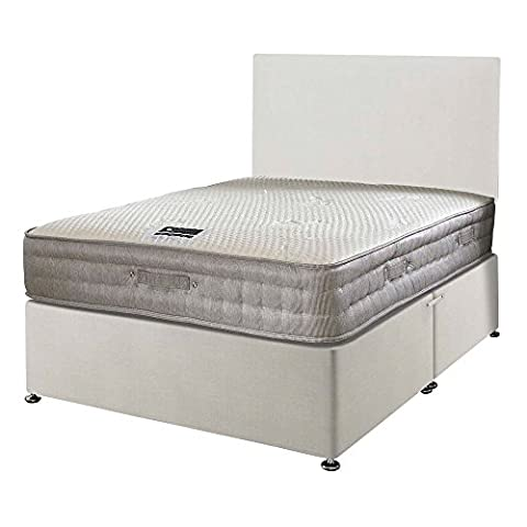 Happy Beds Bamboo Vitality 2000 Pocket Sprung Reflex Memory Foam Mattress with Divan Base, Plain Headboard, Ottoman Storage, White - Small