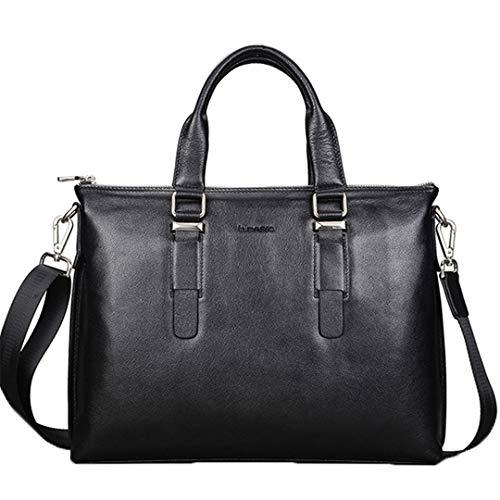 Aktentasche Rindsleder Herren Messenger Schultertasche Hochwertige Tasche Business Handtasche Black -