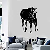 Pferde Fohlen Tiere Familie Vinyl Wandtattoo Aufkleber Wohnkultur Wohnzimmer Kunstwand Tapete 58 X 39 cm