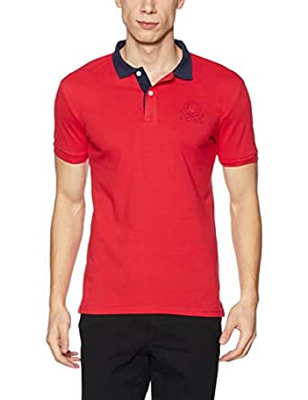 United Colors of Benetton Men's Solid Regular Fit Cotton Polo (17A3089J1122I901S_red_S)