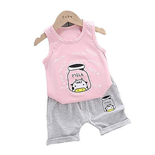 DC CLOUD Baby mädchen Set Kleidung Sommerkleidung Neugeborenes Baby kleidet Mädchen Runder Kragen Babykleidung Neugeborene Unisex Baumwolle Baby-Outfits pink,90/Age:12-18m