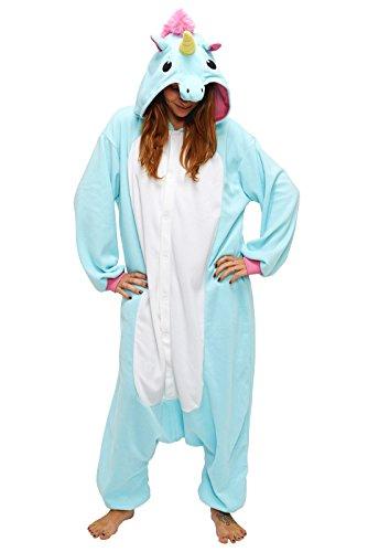 Anbelarui Tier Skelett Pinguin Dinosaurier Panda Einhorn Kostüm Damen Herren Pyjama Jumpsuit Nachtwäsche Halloween Karneval Fasching Cosplay Kleidung S/M/L/XL (L, Blaues Einhorn)