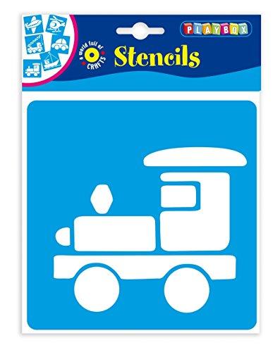 Playbox PBX2470638 2470638 Schablonen Fahrzeuge, 6 Stück, Größe 14,5 x 14,5 cm, Mehrfarbig