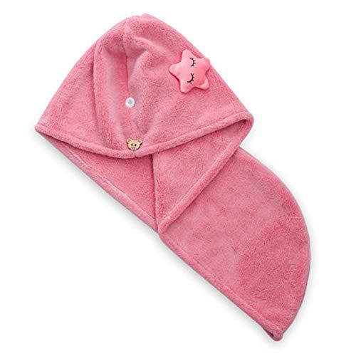 QSCM Trockenes Haartuch, Super Absorbierende Duschkappe, Trockene Haarkappe, Kopftuch, Shampoo, Schnell Trocknende Hut, Handtuch Mütze, Haartuch - Rosa