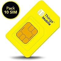 Pack 10 Prepaid-SIM-Karte Things Mobile für IoT und M2M mit weltweiter Netzabdeckung. Ideal für Domotik, GPS Tracker, Telemetrie, Alarme, Smart City, Automotive. Kredit nicht inbegriffen.